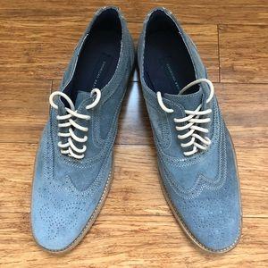 Giorgio Brutini blue suede wing tip shoes